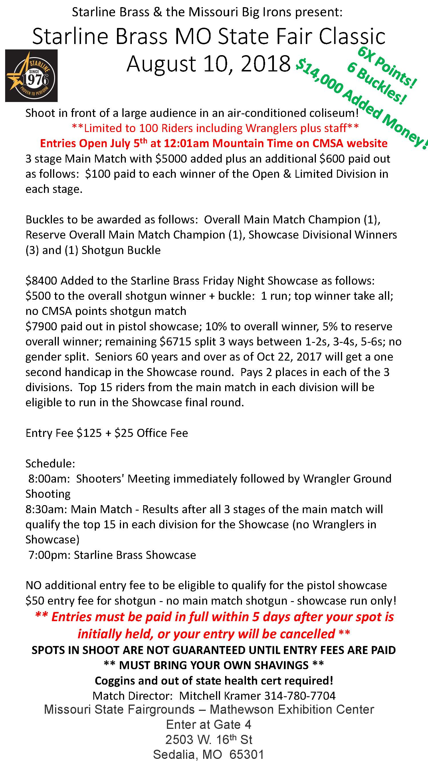 Starline Brass MO State Fair Shoot